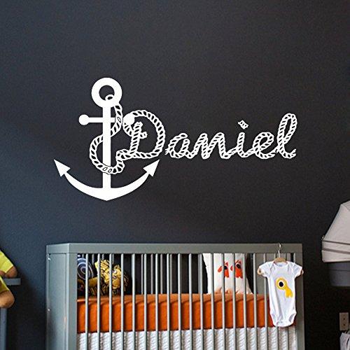 Stickers muraux nom personnalisé ancre sticker Vinyle autocollant Garçon Bébé nautique Pépinière Chambre a coucher Intérieure Décor Conception d'intérieur Art Mural vk62 DecorimDecorWallDecal EXPSFD015042