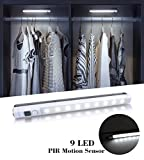 VIBELITE 9 LED Motion Sensing Closet Lights, 2 Pack DIY Stick-on Anywhere Portable 9-LED Wireless Cabinet Night/ Stairs/ Step Light Bar with 360° Rotated Sensor (Battery Operated) -White