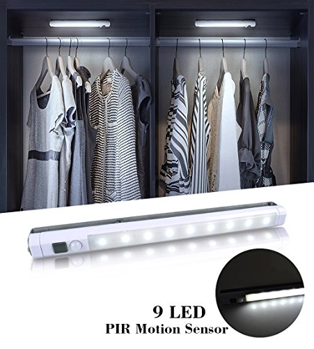 VIBELITE 9 LED Motion Sensing Closet Lights, 2 Pack DIY Stick-on Anywhere Portable 9-LED Wireless Cabinet Night/Stairs/ Step Light Bar with 360° Rotated Sensor (Battery Operated) -White by VIBELITE (Image #1)