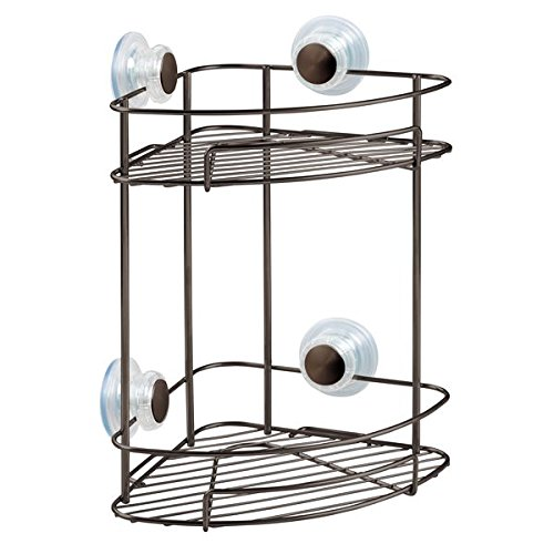 CDM product iDesign InterDesign Suction Bathroom Shower Caddy Shampoo, Conditioner, Soap-Bronze Turn-N-Lock 2 Tier Corner Basket, big image