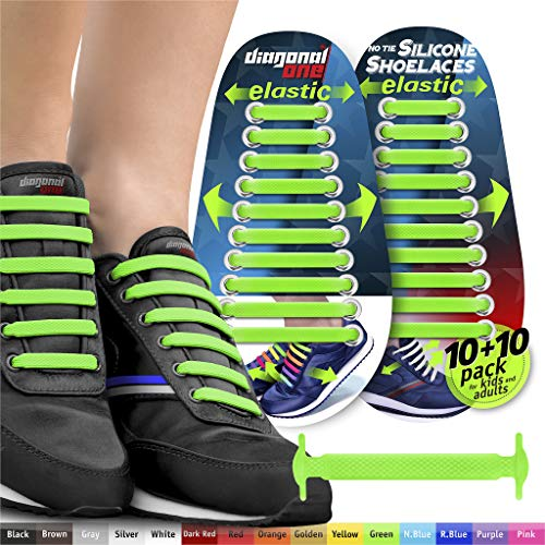 - DIAGONAL ONE No Tie Shoelaces for Kids & Adults. The Elastic Silicone Shoe Laces to Replace Your Shoe Strings. 20 Slip On Tieless Flat Silicon Sneakers Laces (Green)