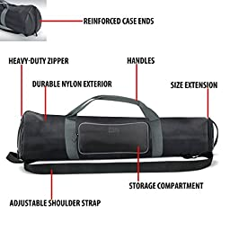 Padded Tripod Case Bag with Expandable Compartment & Accessory Storage - by USA GEAR - works with Vista , Ravelli , Dolica , Manfrotto & More - Holds Tripods from 21\