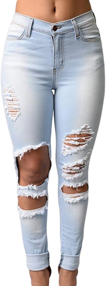 ZKOO Rotos Agujero Vaqueros Mujer Elásticos Skinny Jeans Pantalones Algodón Push up Flacos Jeans Leggings Elásticos