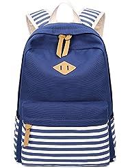 Hiigoo Canvas Backpack Stripes Shoulder Bags Student bag Multi-pockets Light Satchel