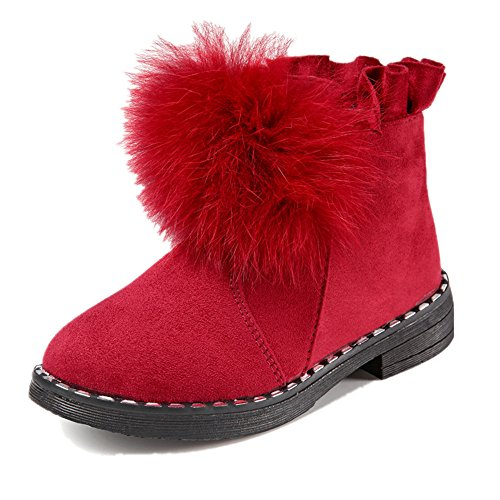 Price comparison product image Boy's Girl's Waterproof Winter Warm Ankle Boots Zipper Cute Casual Shoes(Toddler/Little Kid) (Red 26/9 M US Toddler)