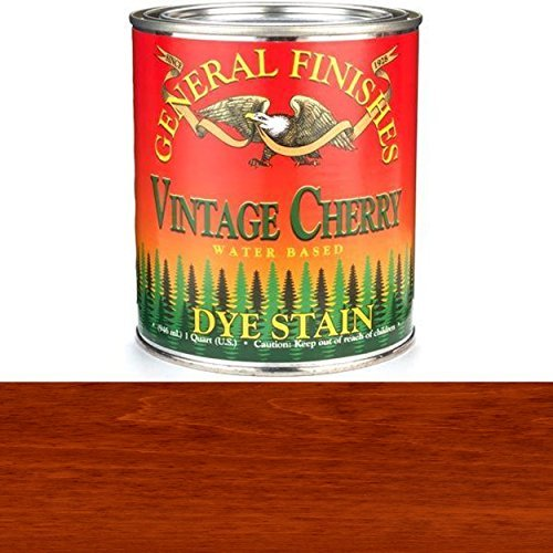 Cherry Color Finish - General Finishes DQV Water Based Dye, 1 quart, Vintage Cherry