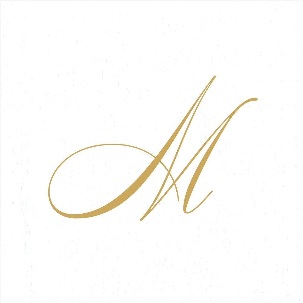 Entertaining with Caspari White Pearl Paper Linen Cocktail Napkins, Monogram Initial M, Pack of 30