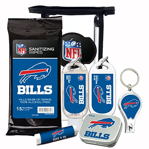 Buffalo Bills 6-Piece Fan Kit with Decorative Mint Tin, Nail Clippers, Hand Sanitizer, SPF 15 Lip Balm, SPF 30 Sunscreen, Sanitizer Wipes. NFL Football Gifts for Men and Women