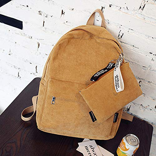 Rucksack Jagenie Bag Backpack Shoulder Women Teenagers Girls Yellow Travel Corduroy Casual New z0zUrwq