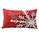 Pillow Case,Neartime Christmas Decor Rectangle Cotton Linter Cushion Covers (A) by Neartime