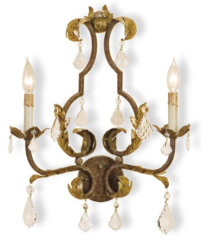 (Currey and Company 5828 Wall Sconce with Customizable Shades, Venetian/Gold Leaf/Swarovski Crystal)