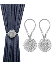 MoKo Crystal Flower Magnetic Curtain Tiebacks, 2 Pack Window Curtain Decorative No Drilling Drapery Holdbacks Flower Curtain Buckle with High-Elastic Spring Wire for Home Office Decor - Silver