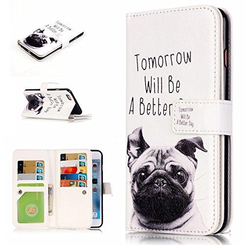 Leather Case Cover Custodia per Apple iPhone 6/6S 4.7 Zoll ,Ecoway Caso / copertura / telefono 3D di disegno in rilievo dipinto di progettazione Folio PU a libro con 9 tasche di carta PU Custodia in p