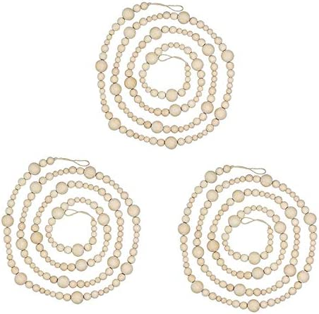 Luntus 3Pcs 7Ft Wooden Beaded Garland Farmhouse Home Decor Rustic Country Natural Holiday Christmas Tree Garland Boho
