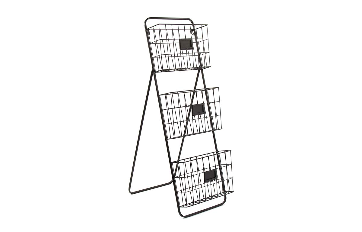 Wall or Floor File Holder - Free Standing or Wall Mounted Two Tier Magazine and Folder Organizer - Durable Black Metal Decorative Storage Rack for Office or Home - by Designstyles