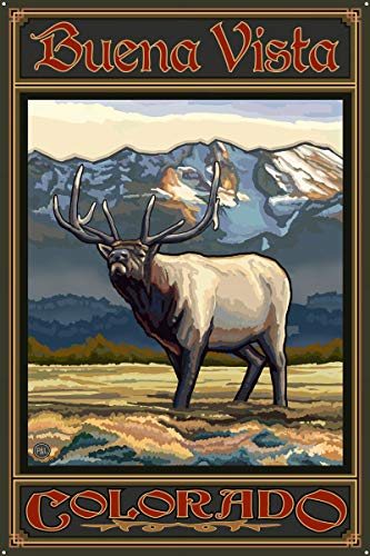 Buena Vista Colorado Whistling Elk Metal Art Print by Paul A. Lanquist (24