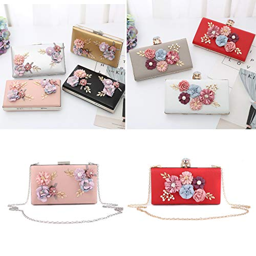 White Clutch Party Messenger Flower Handbag Purse Bridal for Wedding Evening Bag SLYlive Women Pzwq77
