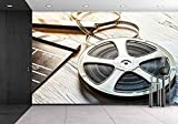 wall26 - Film Camera Chalkboard and Roll on Wooden Table - Removable Wall Mural | Self-adhesive Large Wallpaper - 66x96 inches