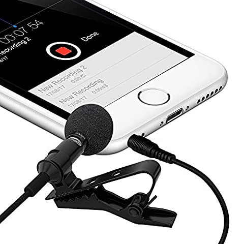 Ultimate Lavalier Microphone For Bloggers And Vloggers Lapel Mic Clip-on Omnidirectional Condenser for Iphone Ipad Samsung Android Windows (Ultimate Android Smartphone)