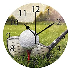 XiangHeFu Wall Clock,Round 10 Inch Diameter Silent Golf Decorative for Home Office School
