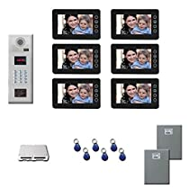 Office Building Video Entry Six 7 inch color monitor door panel kit