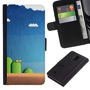 KLONGSHOP / Tirón de la caja Cartera de cuero con ranuras para tarjetas - Blue Pc Retro Blue - Samsung Galaxy Note 4 SM-N910