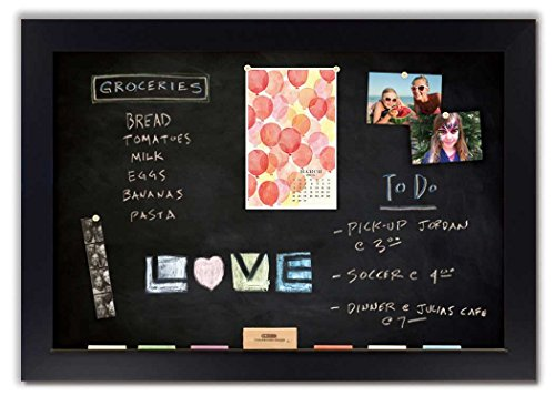 Magnetic Chalkboard with Black Satin Frame by The Cork Board Shop