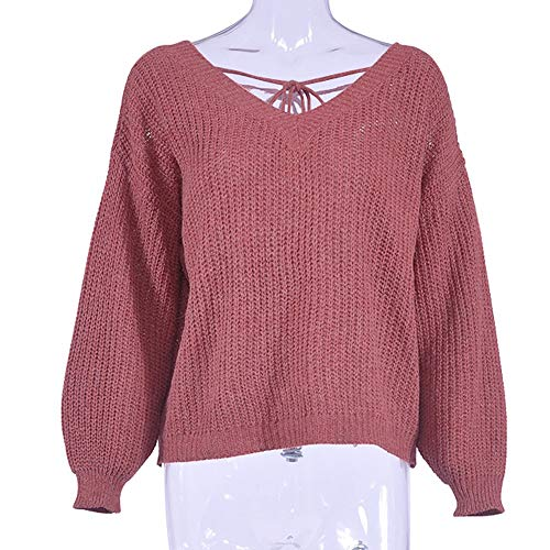 Dos Fuite Pull V Tricot Neck Sexy Femmes Casual Tonsee OqFfx
