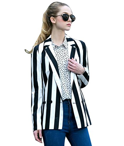 Costume Stripes White And Black (Moxeay Black and White Striped Blazer Jacket Halloween Beetlejuice)