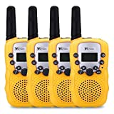 YETION Walky Talky For Kids 4 Piece/Pack 22 Channel 2 Two Way Radios Long Range Distance(5KM) Built-in Microphone for Kids Aged 3-12 Years(Yellow x4)