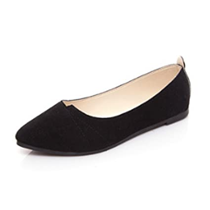 165b7877ed33c Amazon.com: Rurah Fashion Pointed Toe Loafers Boat Shoes Ballet Casual  Flats Shoes For Womens Black Color