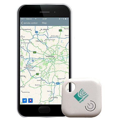 Kingcenton (Gen 2) Phone Finder with Bluetooth Remote Control, Key Finder, Mini GPS Locator Tracking Device [0-30 M Anti-lost Anti-theft Burglar Alarms] for Cars Hidden, Wallet, Kids Anything (White)