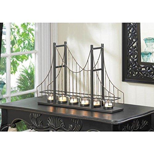 Candles GOLDEN GATE CANDLEHOLDER Candle Light Bridge Bridges Tealight Metal Wire Iron Glass Mantle Gift Room Den Office Table Desk