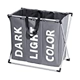 Enerhu 3 Sections Laundry Hamper Basket with Handle Dark Light Color Large Laundry Caddy Bag Folding Aluminum X-frame Dirty Clothing Sorter Home 64x38x58cm/25x15x23inch