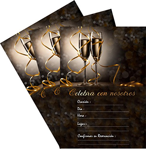 25 Celebra Con Nosotros 5x7 Black Champagne Party Invitations Kit with Gold Metallic Pen and Envelopes (Spanish / En Espanol)]()