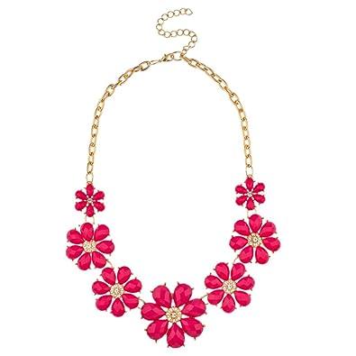 Amazon lux accessories pink pave flower bib statement floral amazon lux accessories pink pave flower bib statement floral chain necklace jewelry mightylinksfo