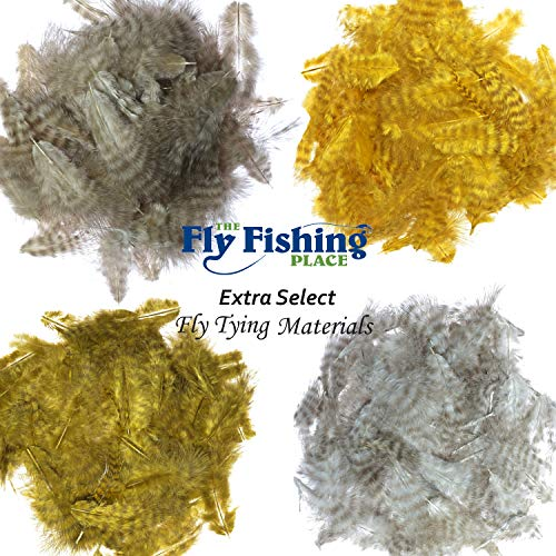 (The Fly Fishing Place Fly Tying Materials - Select Grizzly Mini Marabou Chickabou Master Pack - 4 Colors - Yellow Sand Sculpin Olive Natural)