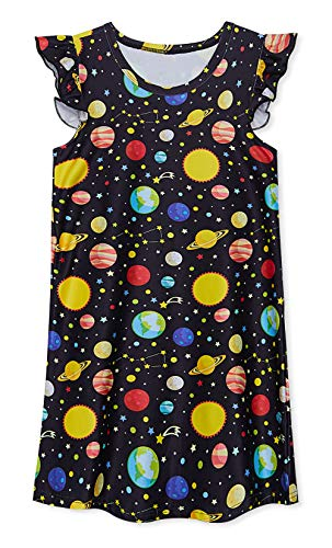 uideazone Girls Nightgown Planet Nightshirt Cute Galaxy Princess Pajamas Sleep Dress