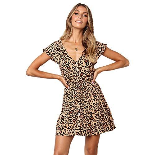 502d794b1342 kemilove Women's Leopard Printing V-Neck Short Sleeve Mini Dress Princess  Dress Khaki