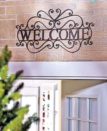 CT DISCOUNT STORE Welcome Wall Door Plaque Metal Bronze Entryway Elegant Scroll Work Indoor and Outdoor Decor by CTD Store