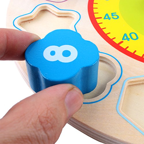 Joqutoys Wooden Shape Sorting Clock Puzzle Teaching Time Number Blocks Educational Toy for Kids by Joqutoys (Image #7)