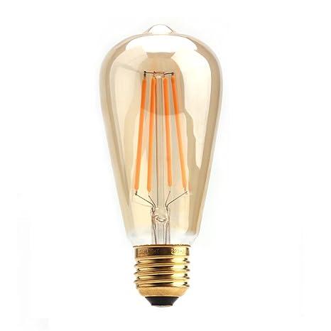 Sealight - Bombilla LED ST64 de filamento, estilo vintage, 6 W, blanco suave, 2200 K, bombilla tipo ...