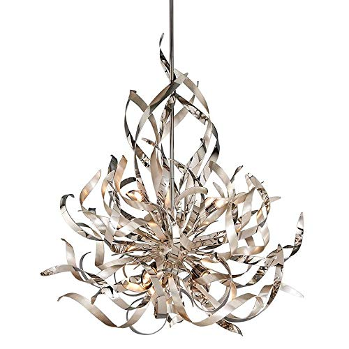 Corbett Lighting 154-46 Graffiti - Six Light Pendant, Silver Leaf and Polished Stainless Finish with Smoked Crystal