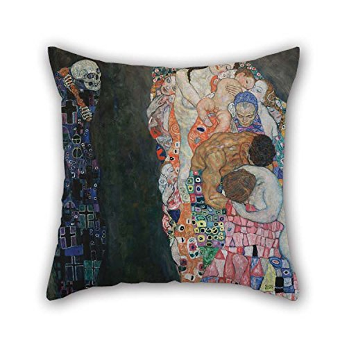18 X 18 Inches / 45 By 45 Cm Oil Painting Gustav Klimt - Death And Life Pillow Cases Double Sides Ornament And Gift To Father Kitchen Drawing Room Boys Bedding Wife (Flowers To Give After A Death)