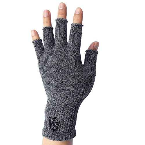 Vital Salveo - Stretchy Unisex Half Finger Texting Circulation Fingerless Recovery Arthritis Gloves (Pair)-Large-Light Grey