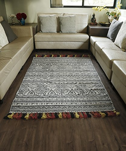 Area Carpet Rug Printed Tribal Design Cotton Floor Mat with Tassels For Dining Room Home Bedroom 46 x 74 Inches