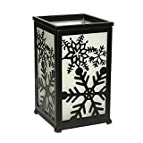 Decorative Rustic Lantern with Flickering Flameless LED Candle, Hurricane Lantern with Twelve Magnetic Seasonally Themed Panels