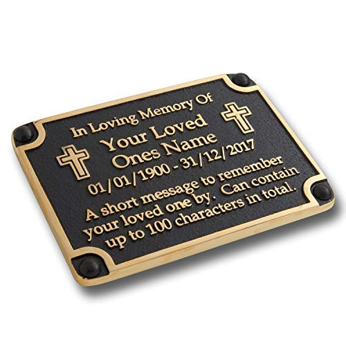 The Metal Foundry Personalised Memorial Cross Metal Plaque for Memory of A Loved One, Mother, Father Or Grandparents. with Stake As Garden Stones Statue Gift Alternative Idea Handmade in Brass