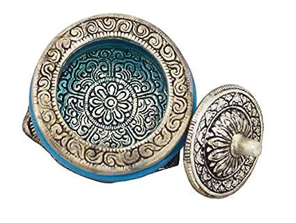 Zap Impex® Bandeja para servir blanca Metal schnitzendes Cuenco de cristal color azul claro color