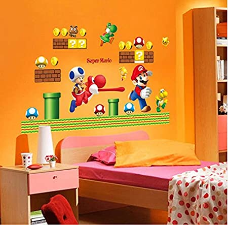 Adesivi Murali Super Mario Bros.Adesivo Da Parete Super Mario Bros Wall Stickers Art Cartoon
